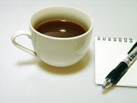 コーヒーとペンとメモ帳