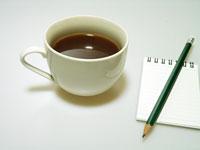 コーヒーと鉛筆とメモ帳