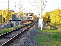 駅と線路とイチョウの風景