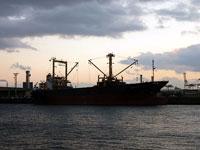 港に停泊する大きな赤と黒の船と海