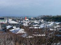冬の枯れ木と雪が降った町並みの風景