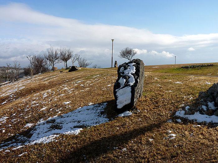 石や芝生に残る雪の拡大写真