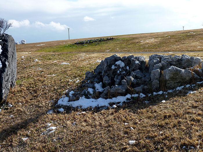 石と芝生と雪の冬景色の拡大写真