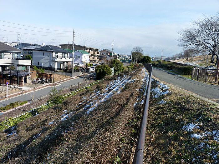 芝生の傾斜地を挟む道路となごり雪の景色の拡大写真