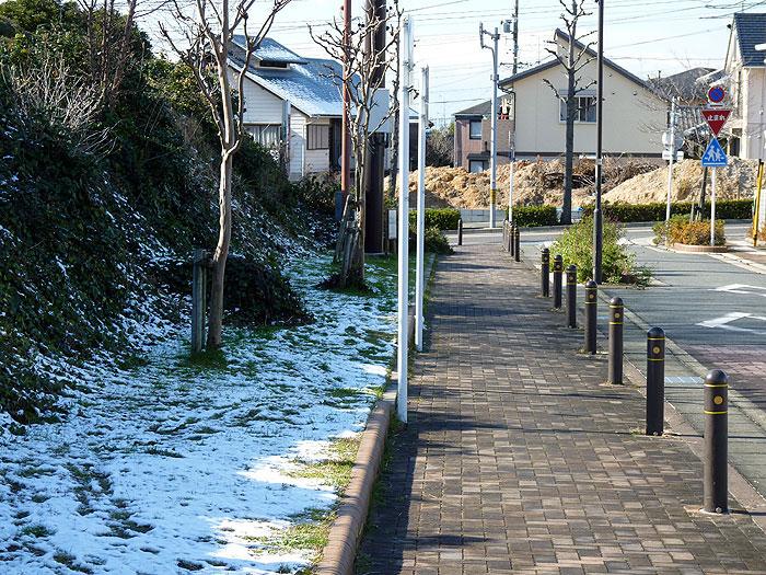 歩道と雪の冬景色の拡大写真