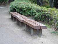 道路わきのベンチと植物の景色