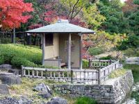 和風の建物(休憩所)といろとりどりの植物