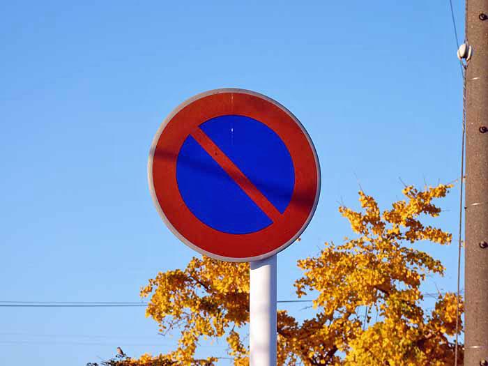 道路標識(駐車禁止)と青い空の拡大写真