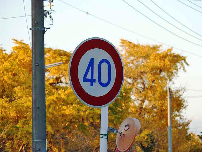 道路標識(最高速度40km)の拡大写真