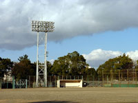野球のグラウンドと照明とベンチ