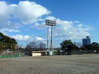 野球のグラウンドと照明と見事な青い空と雲