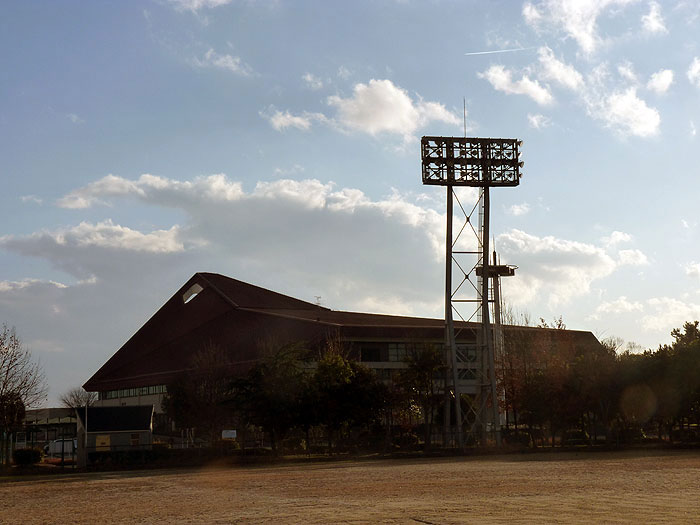 夕日が差し込む野球場と建物の拡大写真