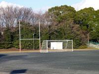 サッカーのグラウンドとゴールネットと緑の木々