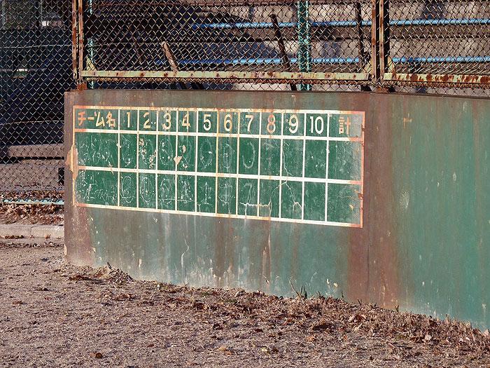 野球のバックネットとスコアボードの拡大写真