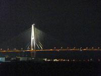 ライトアップされた海に架かる橋と夜景
