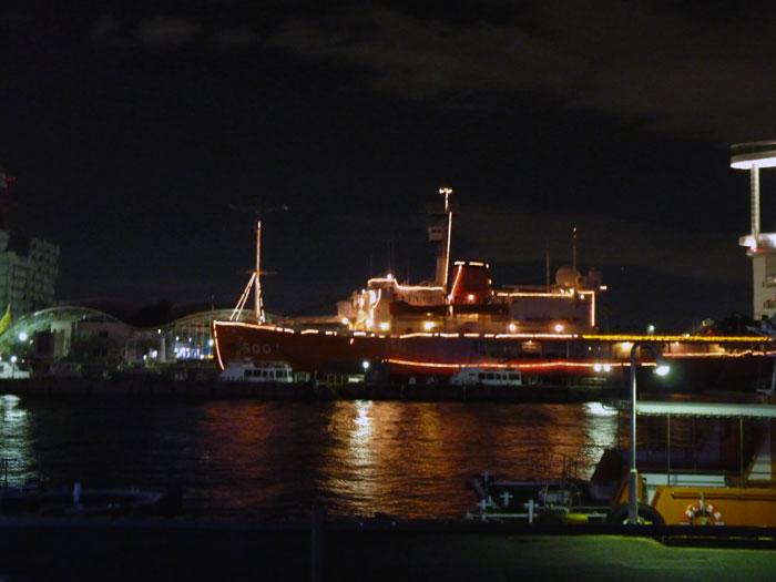 ライトアップされた船と海の夜景の拡大写真