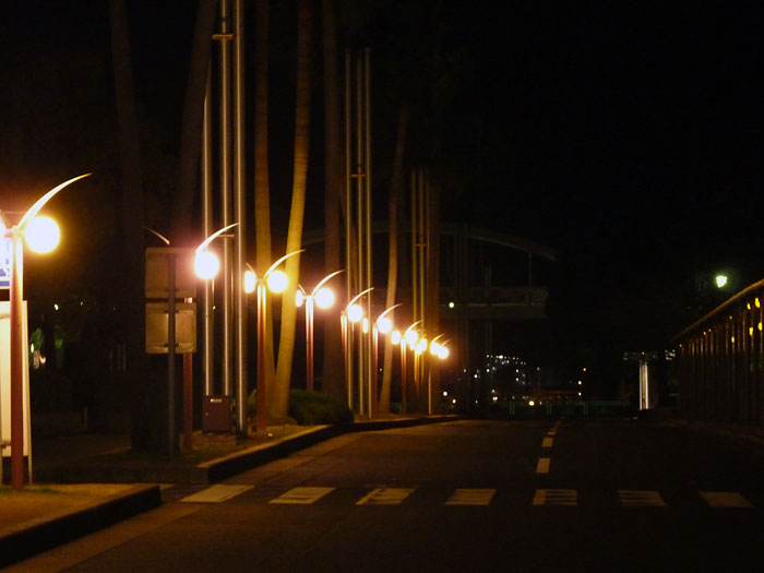 道路と街路灯の綺麗な夜景の拡大写真