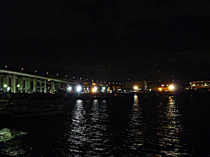 夜景(橋と町の明かりと海)の拡大写真