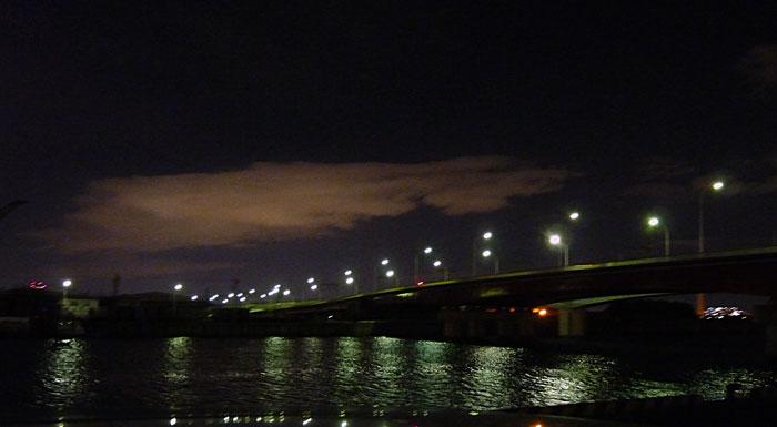 夜景(海にかかる橋と街路灯の明かり)の拡大写真