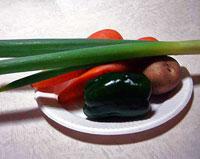 野菜(ニンジンとジャガイモとピーマンと長ネギ)