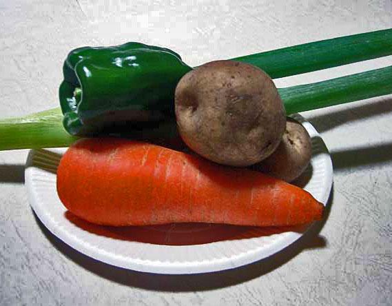 野菜(ニンジンとジャガイモとピーマンと長ネギ)その4の拡大写真